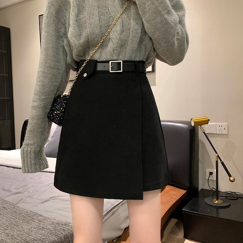 新款配腰带黑色毛呢半身裙女秋冬季短裙2021高腰a字裙百搭裙子春