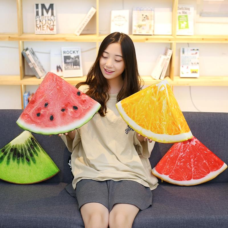 仿真切片水果毛绒玩具西瓜橙子柚子猕猴桃抱枕靠垫儿童装饰道具