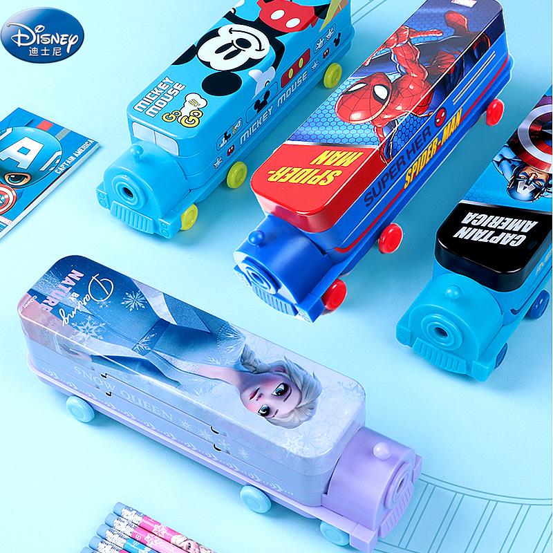 迪士尼火车头带削笔刀双层铁笔盒