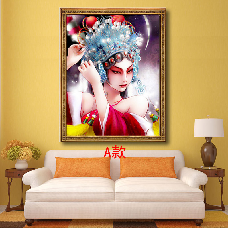 5D full diamond painting Beijing opera facial makeup figure beauty cross stitch new style square diamond living room personality full tiling stone show