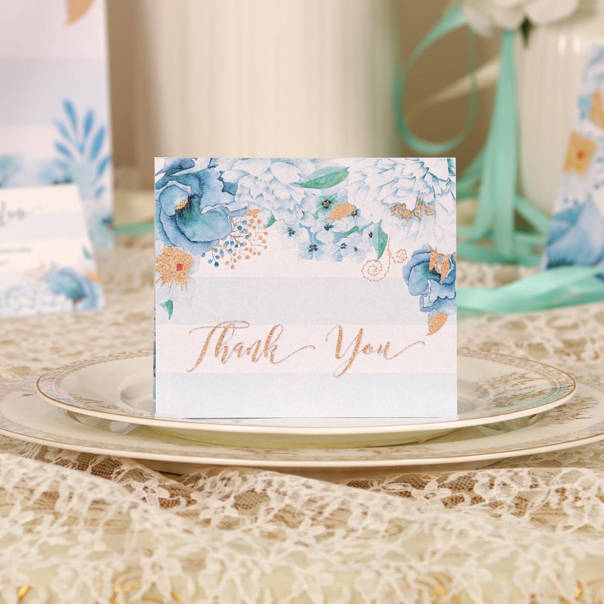土耳其蓝小号请帖婚礼答谢卡/花卉宴会出席感谢卡/Thankful Card