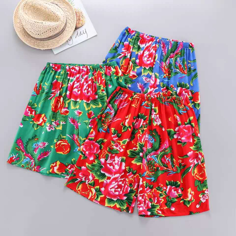 Summer mens casual flower shorts northeast flower ethnic style underpants beach pants womens loose square dance pants