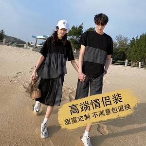 小众设计感情侣装夏装新款可爱ins超火港风假两件上衣连衣裙套装