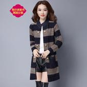 外套女中长款 外搭大衣潮 春秋季 毛衣外套女韩版 加大码 条纹针织开衫