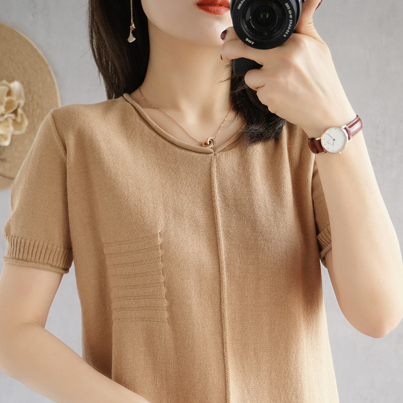 Cotton linen knitted short sleeve V-neck T-shirt womens solid color loose thin solid color cotton large top linen Long Sleeve Shirt