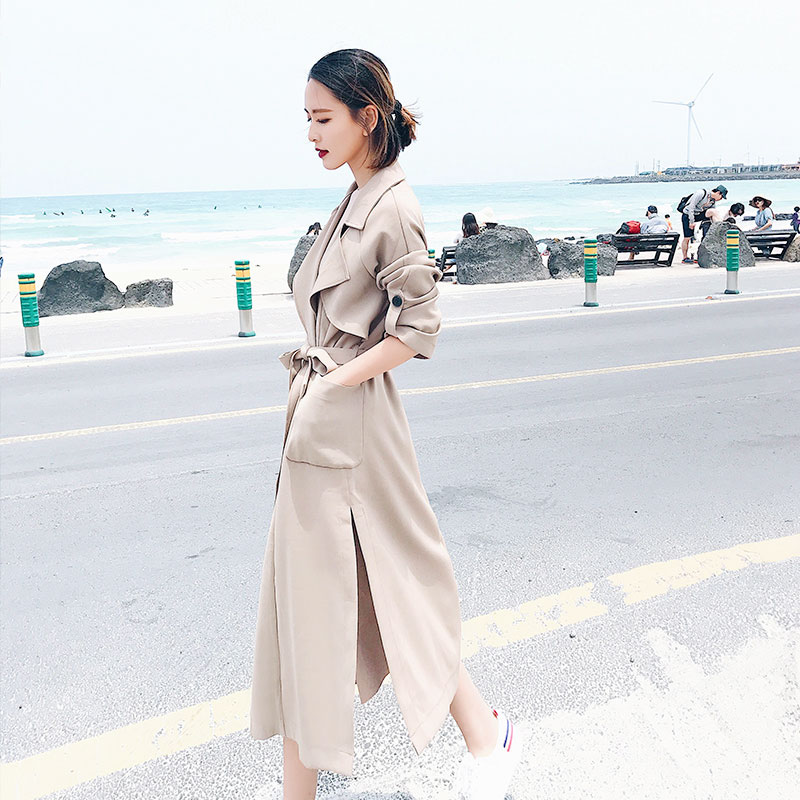 Jiuyin long windbreaker coat fall 2019 new big Lapel belt waist windbreaker split mid length coat