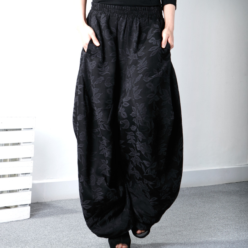 Spring and autumn big crotch pants lantern pants women's ethnic style Harun pants jacquard hanging crotch low-grade pants loose mom casual pants