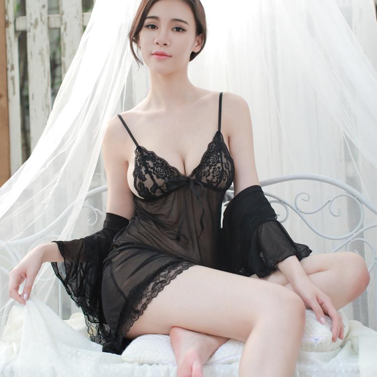 Victoria vs Leahs three piece secret sexy morning gown seduces husbands interest slit nightdress pajamas