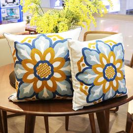 美式田园复古小清新抱枕刺绣花北欧风格沙发靠垫套加厚客厅可拆洗