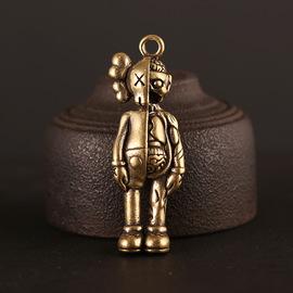 纯铜实心公仔钥匙扣黄铜做旧潮牌机器人挂件吊坠汽车钥匙扣挂件