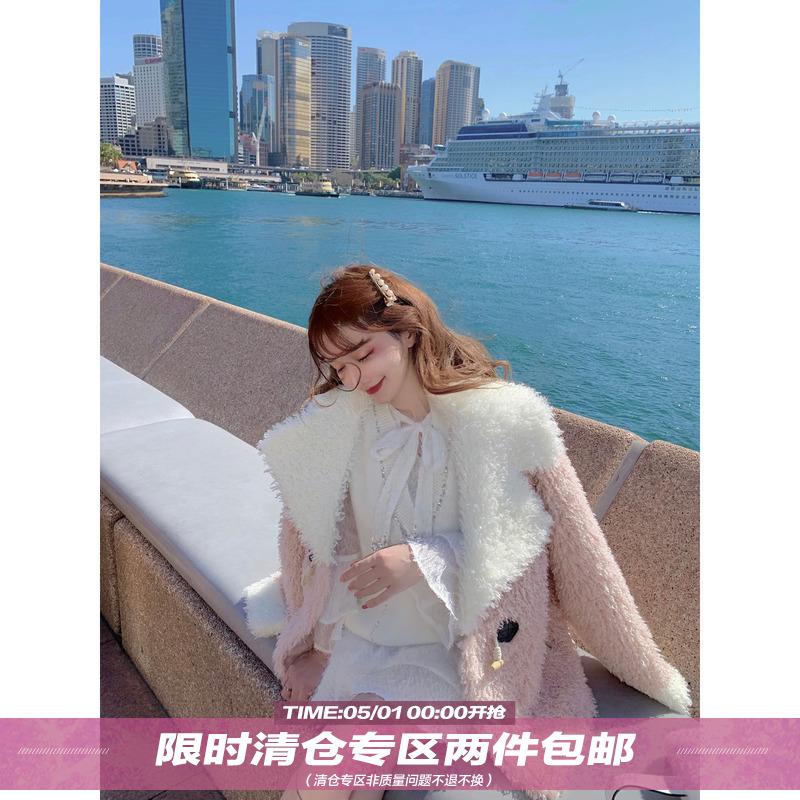 Q女家大翻领羊羔毛外套女冬季2019新款摇粒绒牛角扣加厚毛毛大衣