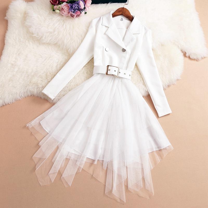 西装领网纱不规则连衣裙双排扣无袖收腰不对称假两件小香风女装裙