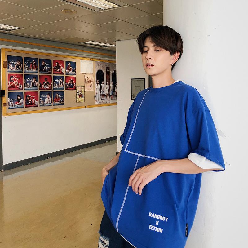 (用10元券)BANGBOY 港风蓝色短袖t恤男生韩版圆领宽松简约设计感潮牌体恤男