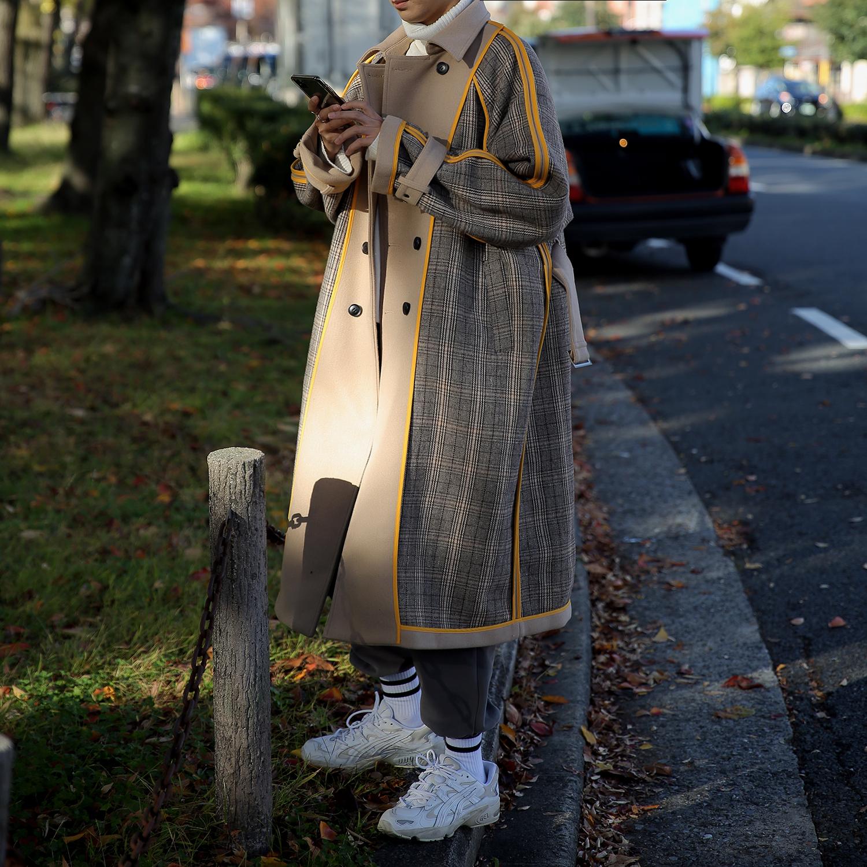 双面格纹长款毛呢大衣男英伦风冬季外套加厚韩版潮流过膝ins风衣图片
