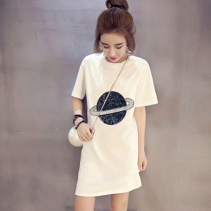 5515#官图180克双磨新款短袖t恤女韩版夏季中长款白色宽松上衣