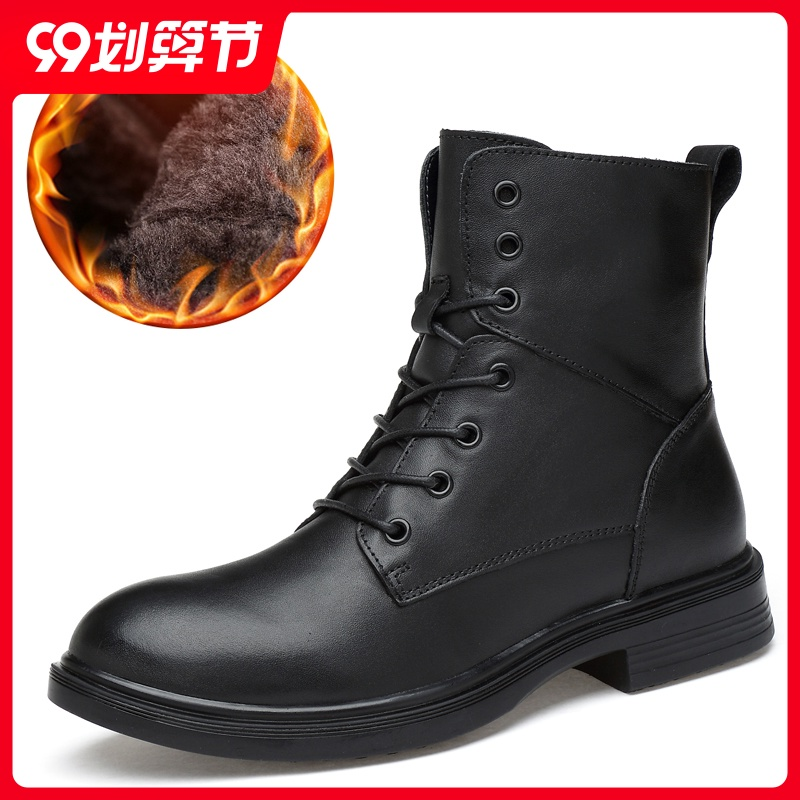 Martin boots mens top leather high boots mens boots Plush warm leather black high top shoes mens cotton shoes