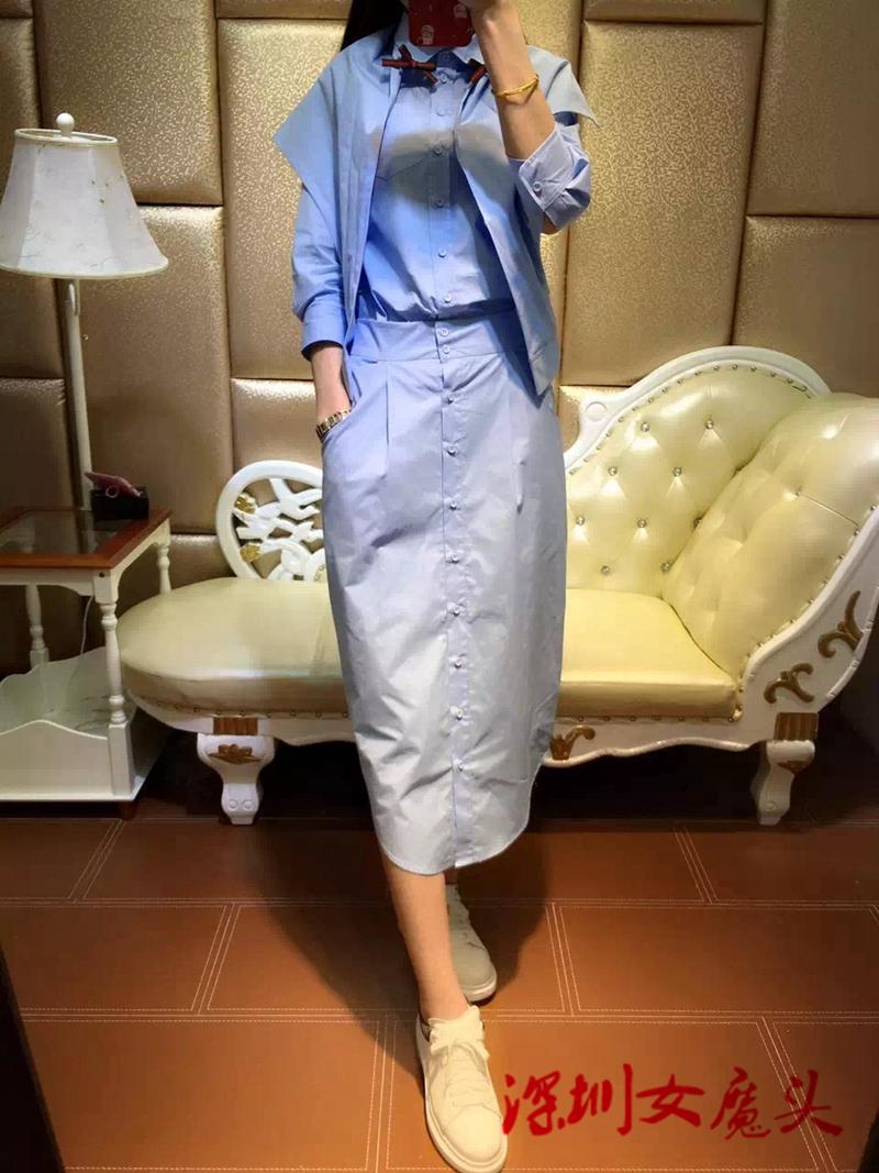 Магазин при фабрике! G пользовательские zip закрытие сшивание кнопку рубашку + юбка твердых с учетом трех кусок костюм женщины