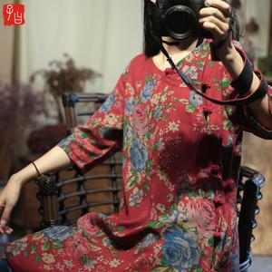 民族风纯棉五分袖衬衫女夏季复古印花女装圆领斜襟盘扣中长款上衣