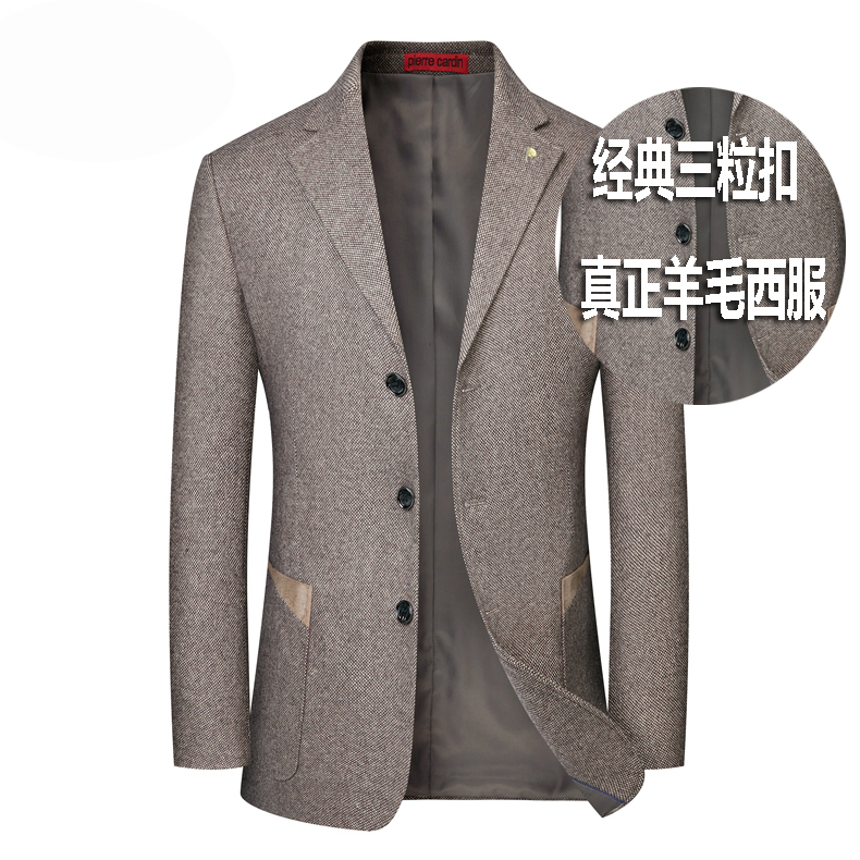 Brand high end spring and autumn single piece suit wool mens three button single Western jacket middle age jacket casual wool suit