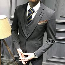 メンズスーツの男性のスーツの韓国スリムスーツの男性スリーピーススーツの新郎のウェディングドレス最高の男のグループのビジネススーツ