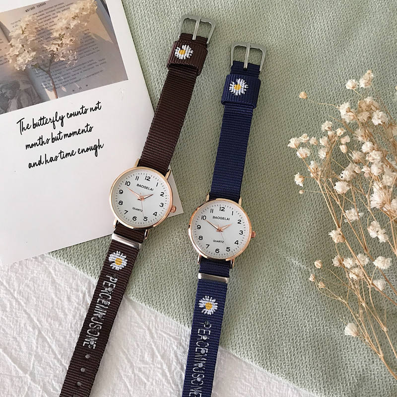Canvas watch female ins middle school students Korean version of simplicity