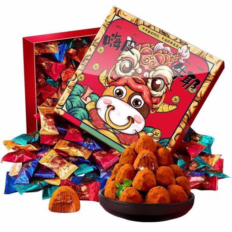 诺梵松露黑巧克力网红零食大礼包节日送礼送女友糖果礼盒装500克