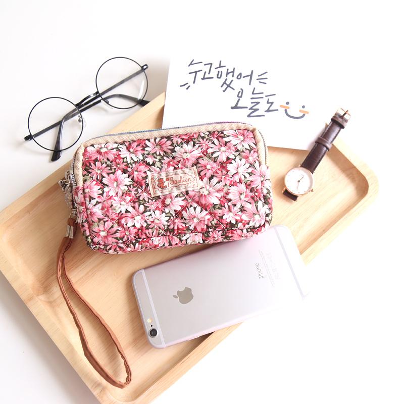 中号5寸 韩版棉布艺零钱包女 韩国可爱硬币包碎花iphone67s手机包图片