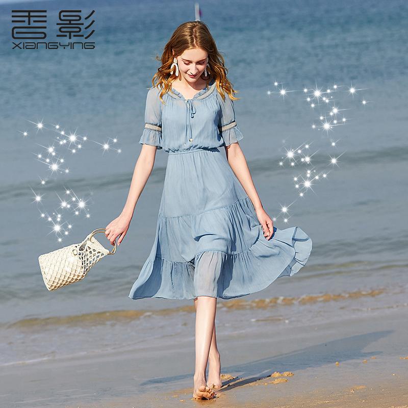 香影海边度假雪纺连衣裙女装2019新款流行裙子女法式智熏高腰裙夏