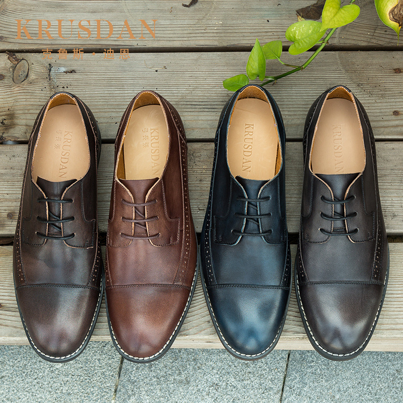 Block high grade summer Leather Mens shoes top layer leather mens low top shoes British casual mens versatile leather shoes