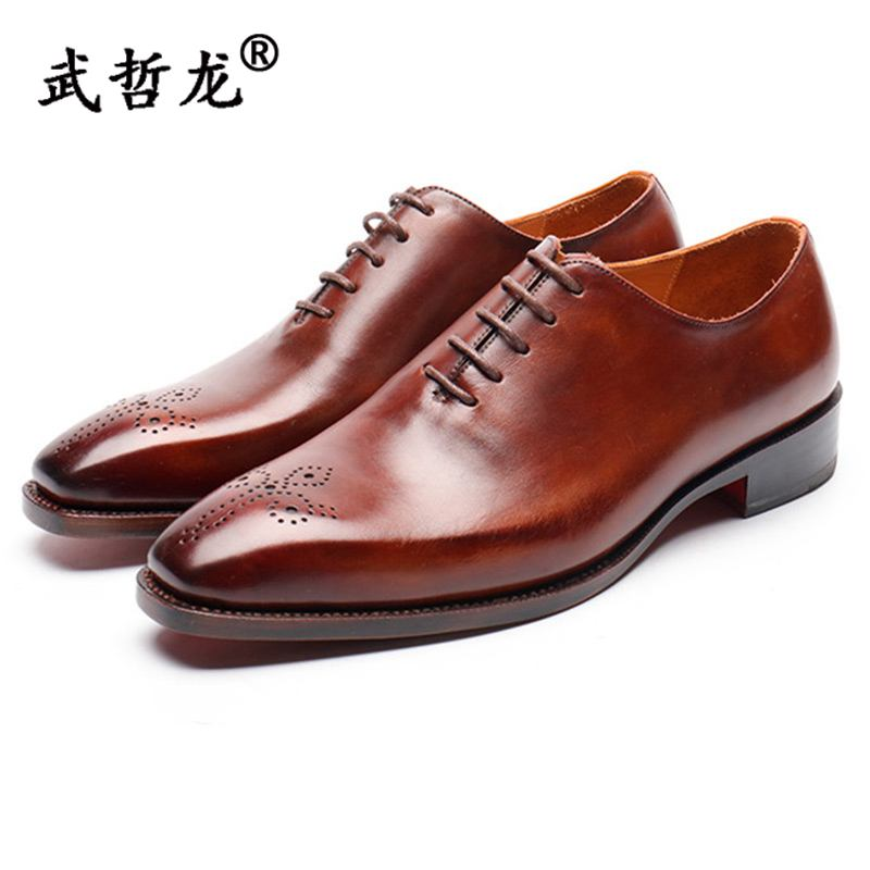 Mens business dress leather shoes mens leather Brock carved simple Oxford Shoes Italian calf leather