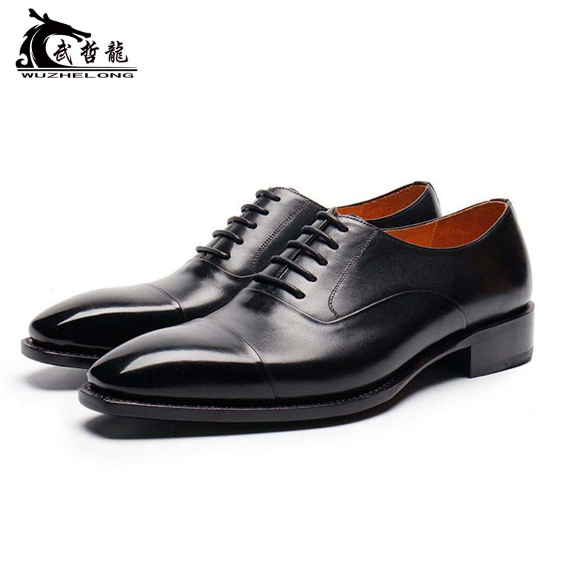 High end customized business dress leather shoes mens leather lace up British triple joint plain Oxford Shoes wedding party