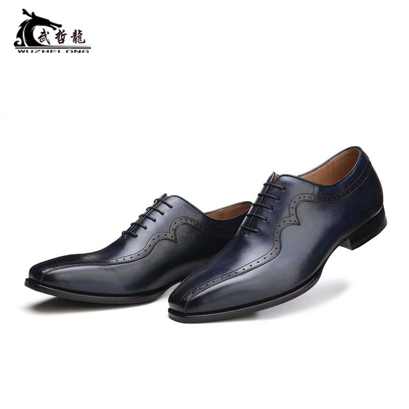 New mens business casual leather shoes mens real leather sole Goodyear customized Oxford Shoes wing pattern carved British lace up
