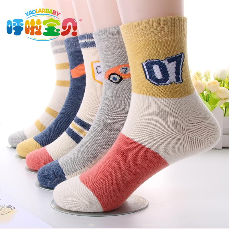 A类秋冬新款5双儿童袜子棉透气中筒男女童学生袜小中大童袜0-12岁