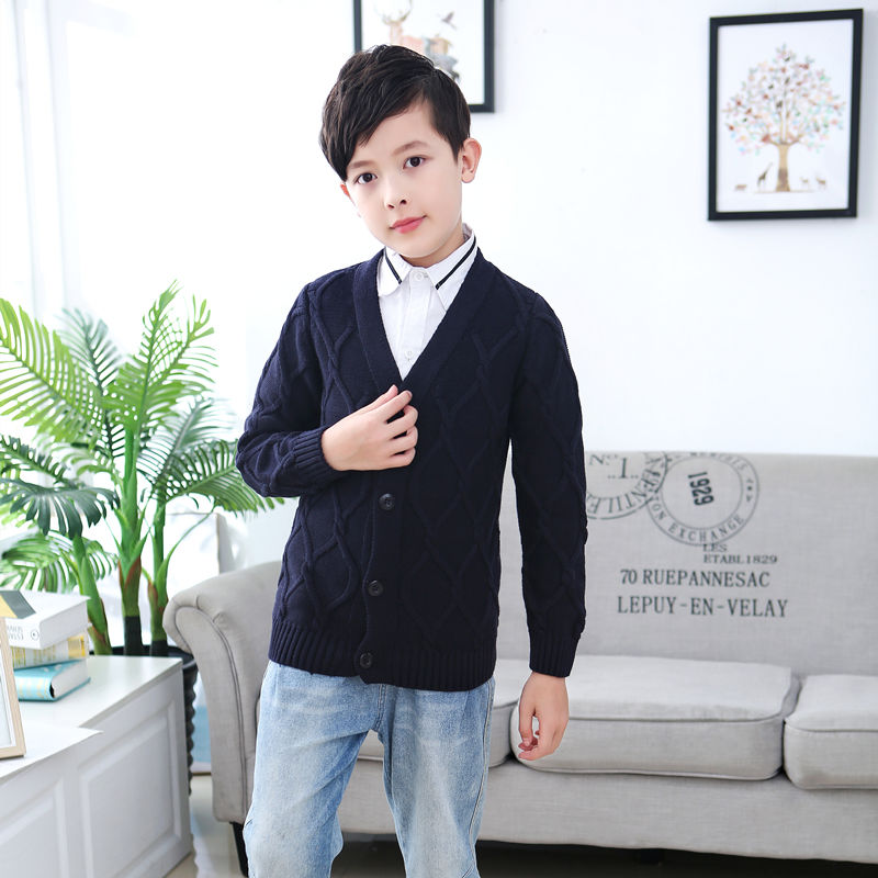 Autumn and winter boys leisure sweaters, sweaters, knitwear, middle school childrens undergarments, cardigans, childrens sweaters, childrens wear