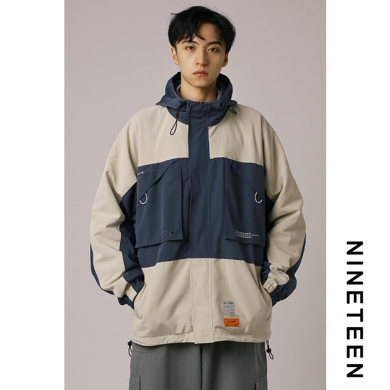 The 19th autumn/spring and autumn new men's tooling jacket loose Korean color matching student hooded jacket handsome trend