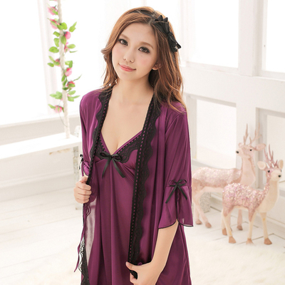 Ms. Sexy pajamas cute temptation condole belt of bud silk robe hot summer  ice silk nightgown lingerie two suits ba25c91a0