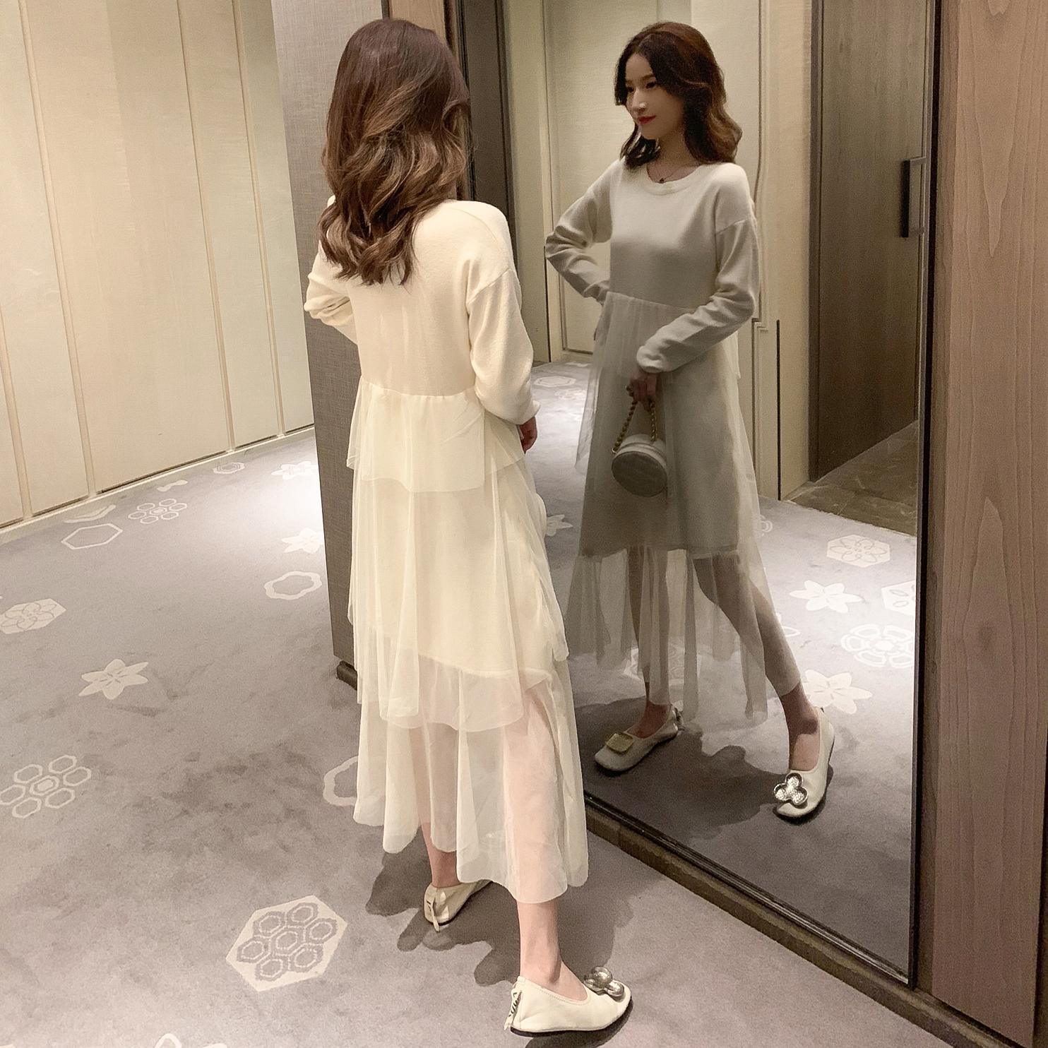 2019秋装新款韩版网纱拼接连衣裙(非品牌)
