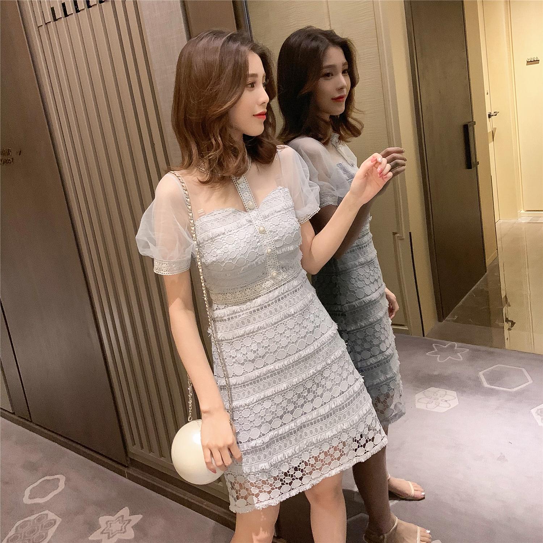 2019夏季新款韩版网纱拼接高腰显瘦蕾丝连衣裙女士chic温柔仙女裙