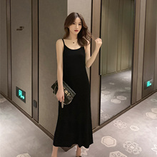 Autumn 2009 New Early Autumn Mid-long Knitted Dress Female Black Retro Long Skirt Sexy Famous Suspender Skirt