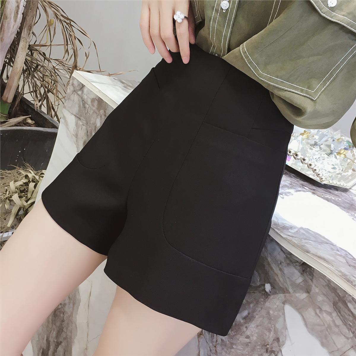 2018夏装新款韩版高腰显瘦黑色阔腿休闲裤女宽松百搭直筒西装短裤
