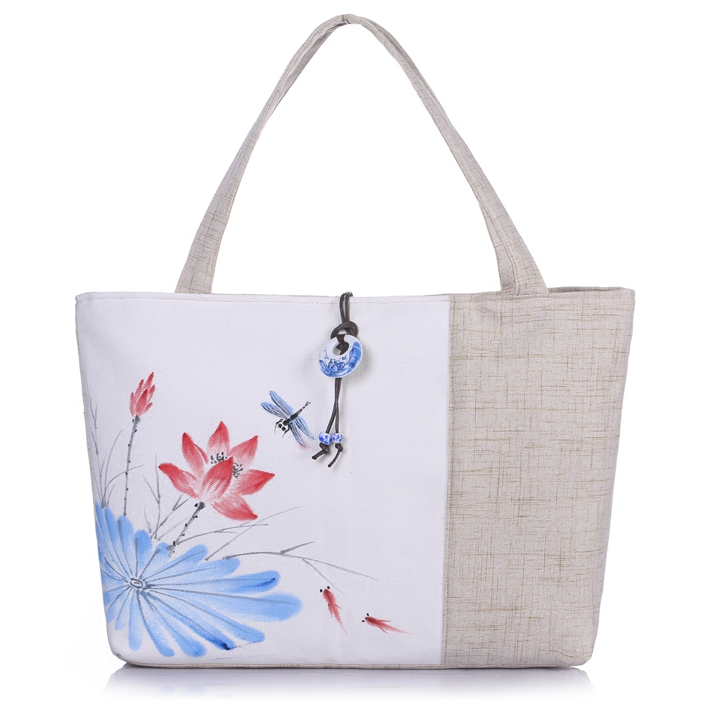 Hand painted cotton and hemp bag womens literary model single shoulder bag retro Chinese style womens Bag Canvas large capacity small fresh