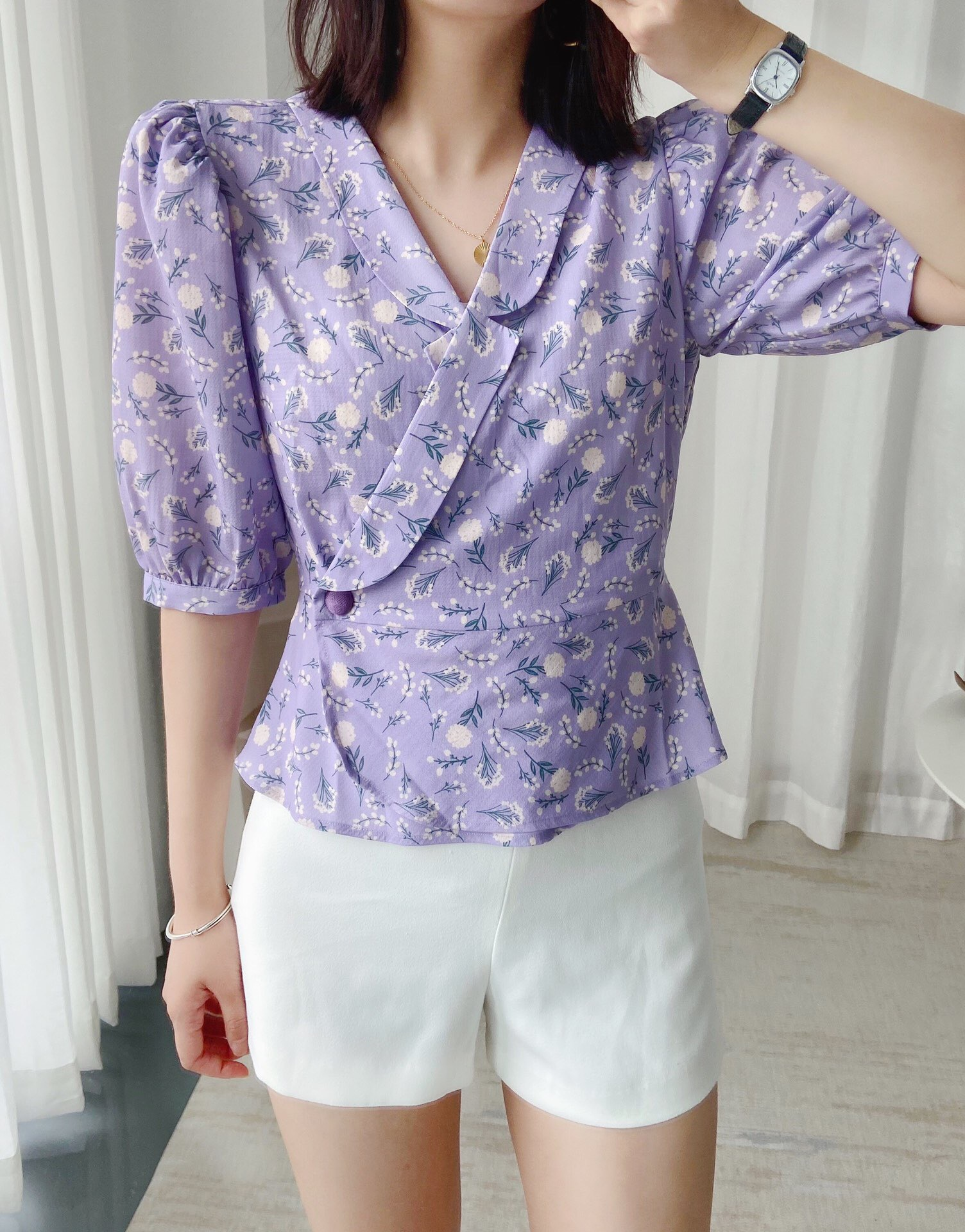 Summer 2020 suit V-neck wrap up shirt French retro print elegant purple flower grain button up waist top