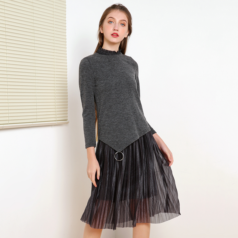 奥特莱斯专卖店女装 正品折扣品牌外衫+水溶蕾丝连衣裙两件套秋
