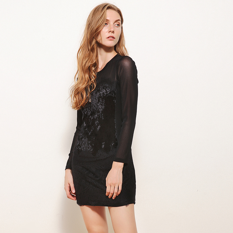 奥特莱斯专卖店女装 正品折扣品牌弹力修身蕾丝拼接绒面连衣裙秋