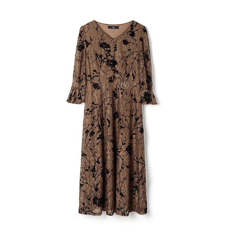 9魅HH0A0447收腰优雅蕾丝连衣裙喇叭袖专柜折扣女装秋装2018新款
