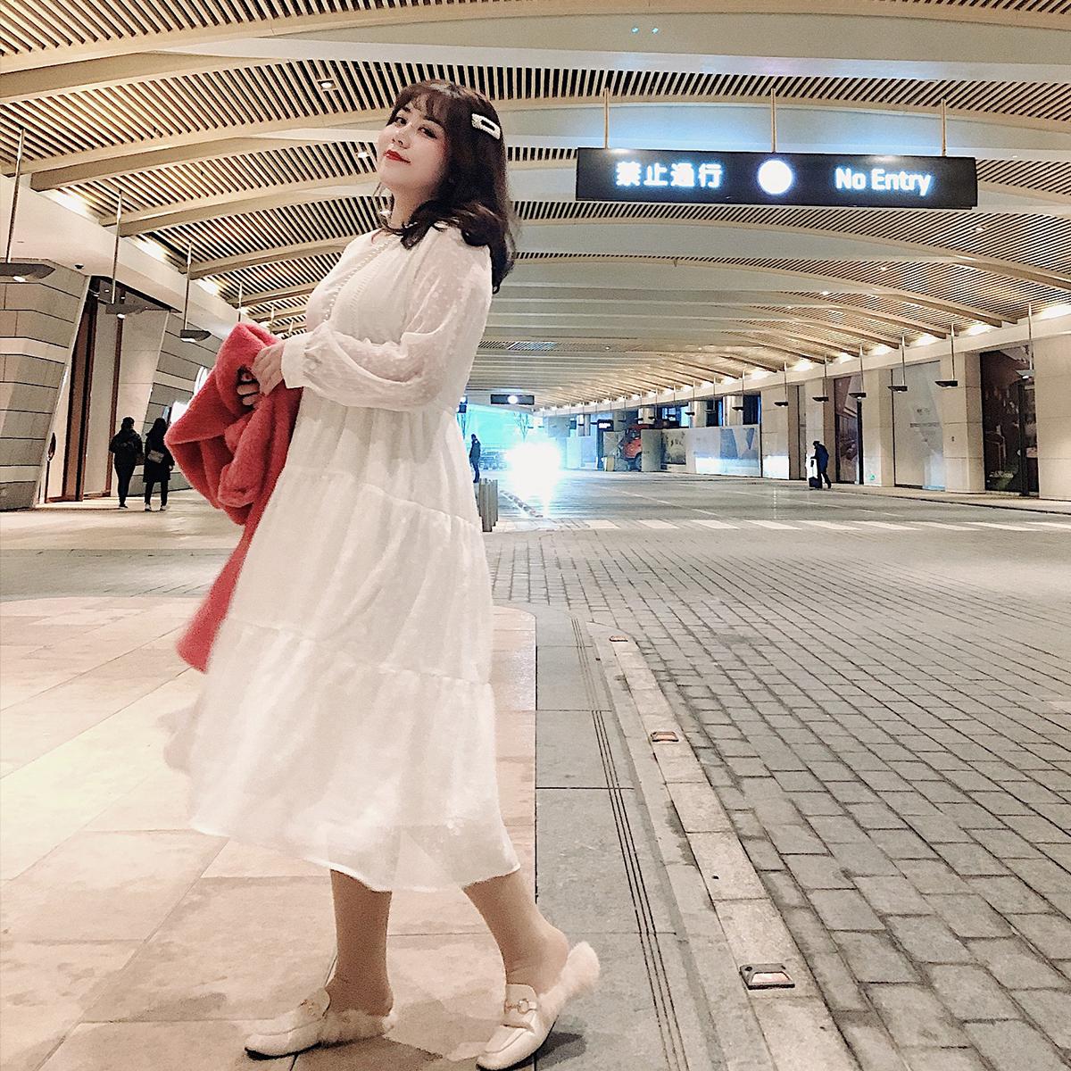 2019年新款大码女装胖妹妹连衣裙收腰系带显瘦胖mm洋气时尚冬长裙