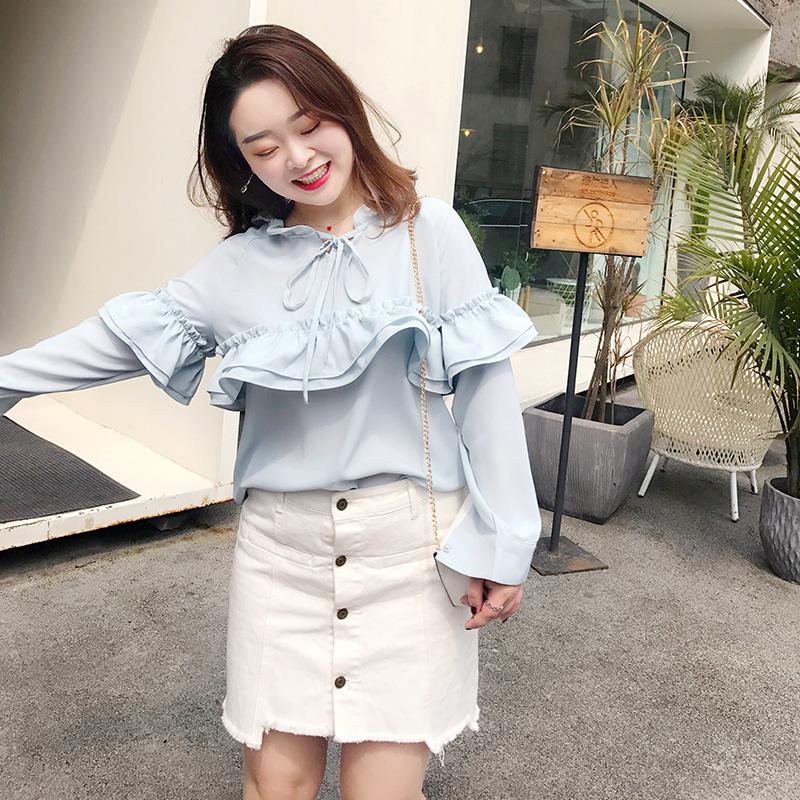 自制胖mm大码女装春装日系甜美雪纺衫系带显瘦马卡龙色少女衬衫潮