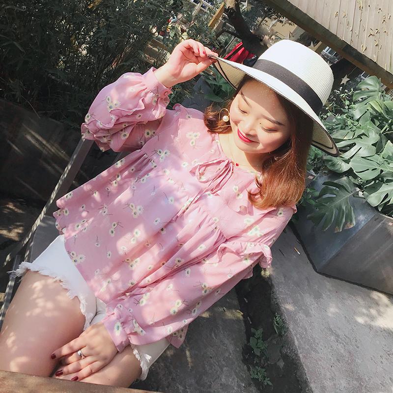 自制大码女装春装新款200斤胖mm雪纺衫甜美日系衬衫修身显瘦衬衣