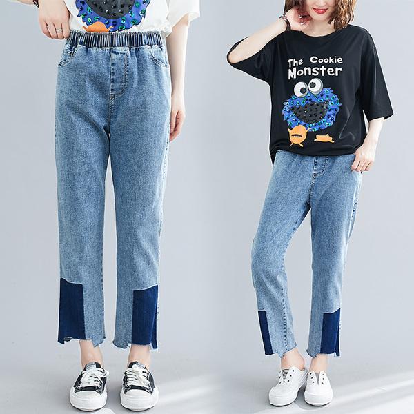 TS14407#夏季新款韩版显瘦不规则松紧腰撞色直筒休闲牛仔裤