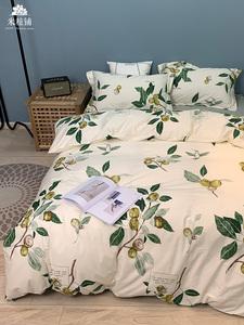 新款印花四件套 AA版田园花卉纯棉全棉床上用品被罩套件百合新品